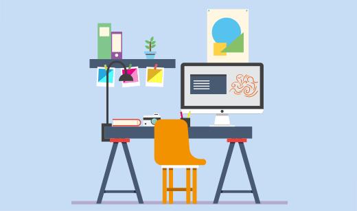 Skrivebord for grafisk design