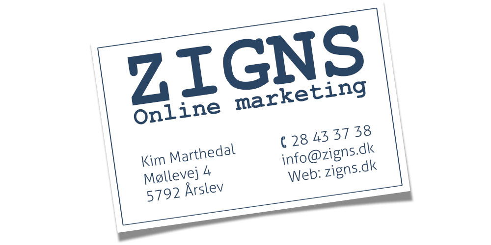 Zigns visitkort for kontakt