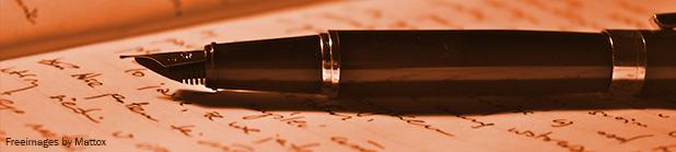 Fyldepen og papir, forfatter eller kopist. Tekstforfatter.