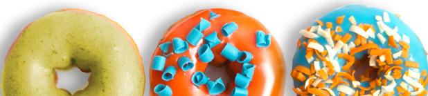 Hjemmesidetekst i 3 niveauer, 3 doughnuts i farver